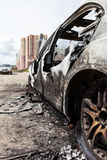 Arson fire burnt wheel car vehicle junk Royalty Free Stock Photos