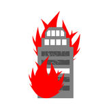 Arson home. Fire in building. Flames from office windows. Burn f Royalty Free Stock Images
