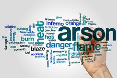 Arson word cloud concept on grey background Royalty Free Stock Photo