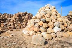Arsuf, Israel. Ballista stones at Arsuf Castle, Apollonia Royalty Free Stock Photo