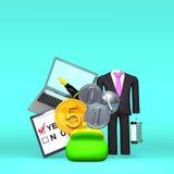 Artículo del negocio de Front View Of Money And en espacio del texto Foto de archivo libre de regalías