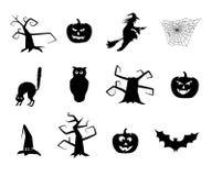 Artículos blancos y negros de Halloween del vector ilustración del vector
