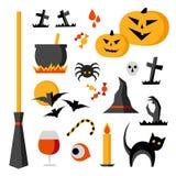 Artículos de Halloween fijados: calabaza, palos, gato, araña, caldera, cráneo stock de ilustración