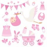 Artículos de la ducha y del bebé del bebé Imagen de archivo libre de regalías
