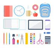 Artículos de la escuela y del lugar de trabajo de la educación Fotos de archivo