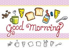 Artículos de la historieta de la buena mañana fijados Imagenes de archivo