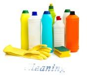 Artículos de la limpieza en blanco Imagen de archivo