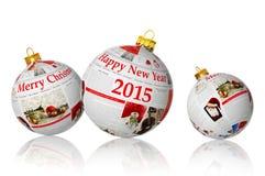 Artículos de la Navidad sobre bolas del periódico Imágenes de archivo libres de regalías