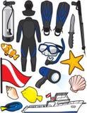 Artículos del equipo de submarinismo Imagen de archivo libre de regalías
