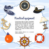 Artículos náuticos del equipo que forman un marco libre illustration