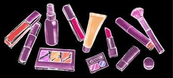 Artículos del maquillaje fijados Elementos cosméticos coloridos dibujados mano Imagen de archivo libre de regalías