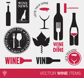 Artículos del vino del vector Fotografía de archivo libre de regalías