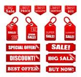 Artículos en venta marcados con etiqueta para el negocio stock de ilustración