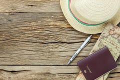Artículos esenciales de la visión superior a viajar Imagen de archivo