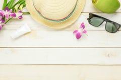 Artículos esenciales del verano del viaje El sunblock que hidrata Imagen de archivo