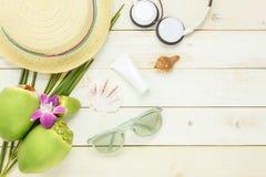 Artículos esenciales del verano del viaje Los auriculares c del sunblock Imagenes de archivo