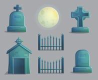 Artículos fantasmagóricos del cementerio para el diseño de juego Imágenes de archivo libres de regalías