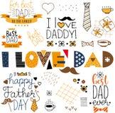 Artículos felices dibujados mano del garabato del día de padres libre illustration