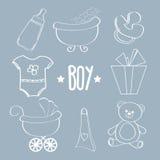 Artículos lineares del bebé fijados Foto de archivo libre de regalías