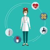 Artículos médicos y doctor de sexo femenino Imagen de archivo libre de regalías