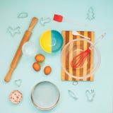 Artículos para cocinar las galletas Foto de archivo libre de regalías