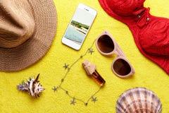 Artículos para las vacaciones de verano Imagen de archivo