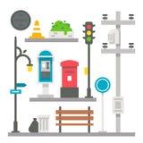 Artículos planos de la calle del diseño fijados Fotografía de archivo libre de regalías
