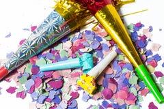 Artículos por cumpleaños del partido o Año Nuevo Fotos de archivo libres de regalías