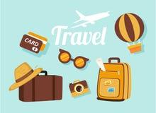 Artículos que viajan a viajar al extranjero ilustración del vector