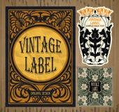 Artículos vintages: etiqueta Art Nouveau Fotografía de archivo