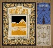 Artículos vintages: etiqueta Art Nouveau Foto de archivo libre de regalías