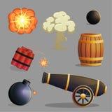 Artículos y explosiones explosivos peligrosos Foto de archivo libre de regalías