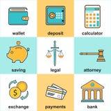 Artículos y símbolo financieros del dinero Imagen de archivo libre de regalías