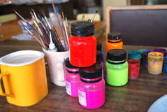 Art. Objects, colors and paintbrushes in school Stock Images