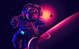 Astronaut in space illustration. A conceptual illustration of an astronaut in space with dimming sunlight in the background royalty free illustration