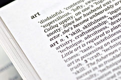 Art. The word art written in a thesarus Royalty Free Stock Photo