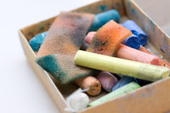 Art. Pastel crayon and other art tools on neutral background Stock Photography