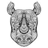 Голова носорога с орнаментом Татуировка ART Картина Ретро знамя, карточка, резервирование утиля футболка, сумка, открытка, плакат Стоковые Изображения RF