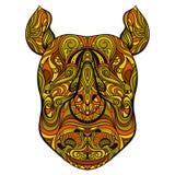 Голова носорога с орнаментом Татуировка ART Картина Ретро знамя, карточка, резервирование утиля футболка, сумка, открытка, плакат Стоковые Фотографии RF