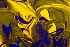 Art abstract. Abstract art purple and yellow paint swirls like a fractal - RAW file available Royalty Free Stock Photo