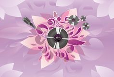 Art; abstract; audio; microphone; plate. Art abstract audio microphone plate vinyl purple sound Royalty Free Stock Image