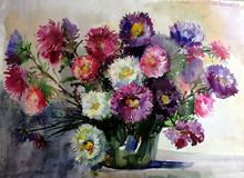 Watercolor art background colorful aster flower bouquet still life painting Royalty Free Stock Image