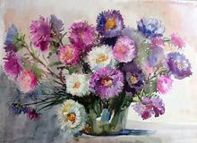 Watercolor art background colorful aster flower bouquet still life painting Royalty Free Stock Photo