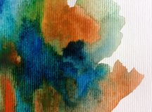 Watercolor art background abstract colorful blue overflow liqued textured wet blurred decoration Royalty Free Stock Image