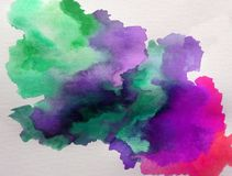 Watercolor art background abstract cloud wet wash blurred splash vibrant. Art abstract background executed watercolor. textured strokes blots splash wet wash royalty free illustration