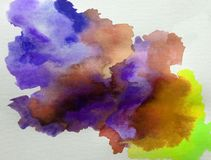 Watercolor art background abstract cloud wet wash blurred splash vibrant. Art abstract background executed watercolor. textured strokes blots splash wet wash stock illustration