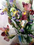 Watercolor art abstract background fresh beautiful floral iris flowers vase  modern textured wet wash blurred fantasy. Art abstract background extruded in Stock Images