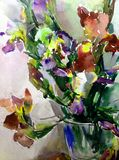 Watercolor art abstract background fresh beautiful floral iris flowers vase  modern textured wet wash blurred fantasy. Art abstract background extruded in Royalty Free Stock Photography