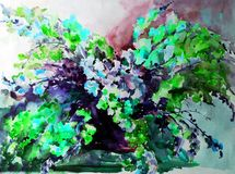 Watercolor art abstract background beautiful floral bouquet exotic iris flowers modern textured wet wash blurred fantasy. Art abstract background extruded in Vector Illustration