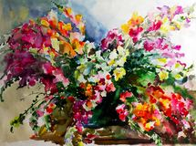 Watercolor art abstract background beautiful floral bouquet exotic iris flowers modern textured wet wash blurred fantasy. Art abstract background extruded in Stock Illustration